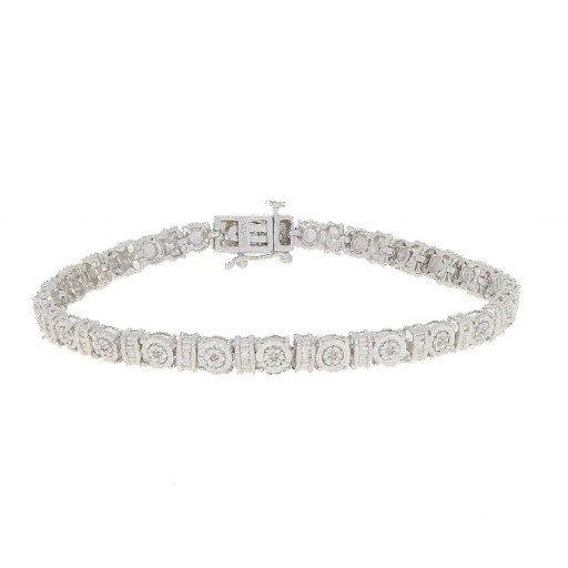 Tiffany Style Baguette & Round Brilliant Cut Diamond Tennis Bracelet in White Gold Plated Sterling Silver .35 TDW