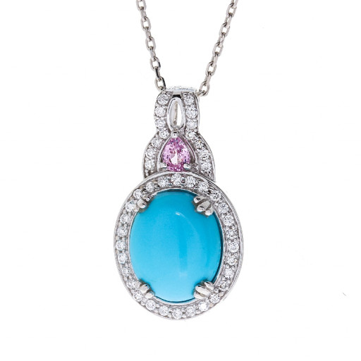Turquoise & Diamond Halo Pendant With Chain & Pink Saphire in 14K White Gold .50 TDW