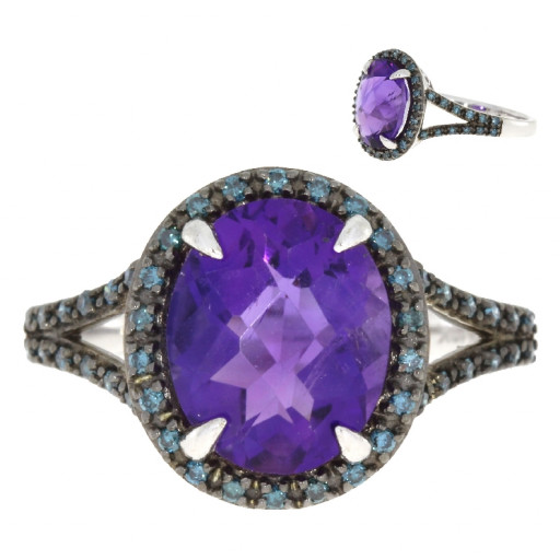 Cartier Style Oval Checkerboard Amethyst & Blue Diamond Halo Ring in 10K White Gold 5.00 TW