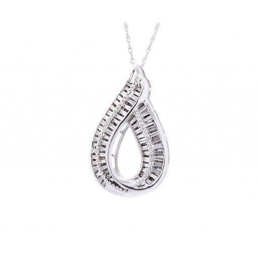 Cartier Style Baguette & Round Brilliant Cut Curved Diamond Pendant in 10K White Gold 1.00 TDW