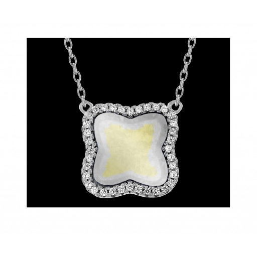 Van Cleef Style Mother of Pearl Necklace in Italian Sterling Silver