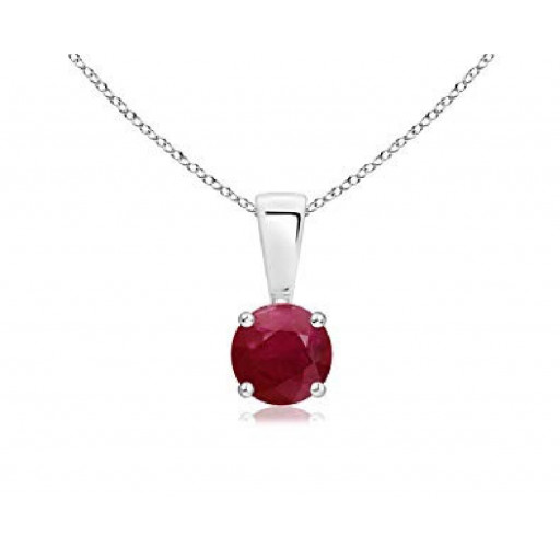 Four Claw Round Brilliant Cut Ruby Solitaire Pendant in Italian Sterling Silver 5 MM