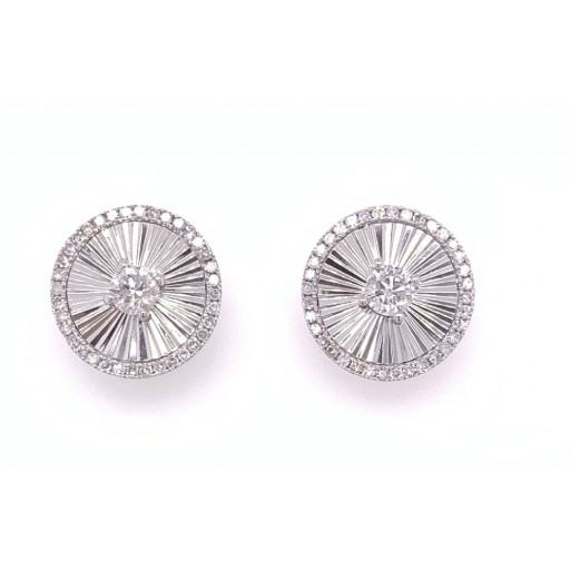 Tiffany Style Round Diamond Studs Earrings With Unique Gold Inlay Work .75 TDW