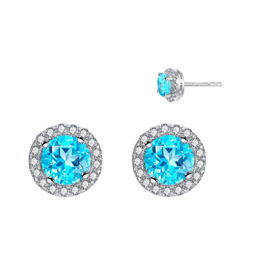 Round Brilliant Cut Paraiba Blue Topaz & White Topaz Halo Stud Earrings. in Italian Sterling Silver 2.25 TW!