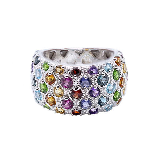 Tiffany Style Multi Colour Gemstone Ring in Italian Sterling Silver 1.40 TW!