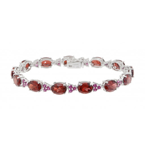 Tiffany Style Oval Garnet and Round Brilliant Cut Rhodolite Tennis Bracelet in Italian Sterling Silver 20 ct TW!!