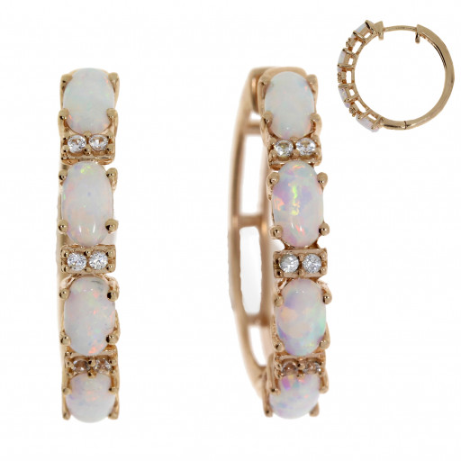 Cartier Style Opal & White Sapphire Hoop Earrings in Rose Gold Plated Sterling Silver