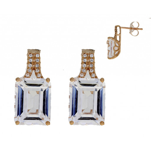 Harry Winston Style Emerald Cut Simulated White Sapphire Earrings in 10K Rose Gold