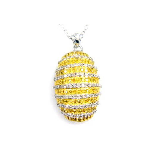 Tiffany Style Yellow & White Diamond Pendant With Chain in Italian Sterling Silver 1.50 TDW!