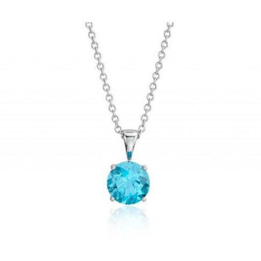 Blue Topaz Solitaire Pendant in Sterling Silver