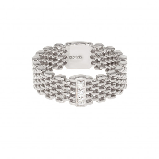 Rolex Style Diamond Braided Band in Italian Sterling Silver .10 TDW