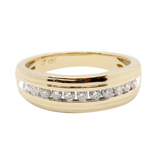 Cartier Style Channel Set Gents Diamond Ring in 10K Yellow Gold .75 TDW