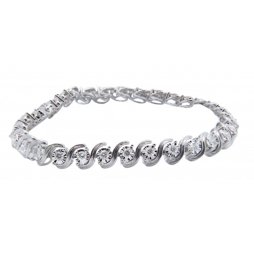 Tiffany Style Curved Link Diamond Tennis Bracelet in 10K White Gold 4.00 TDW!