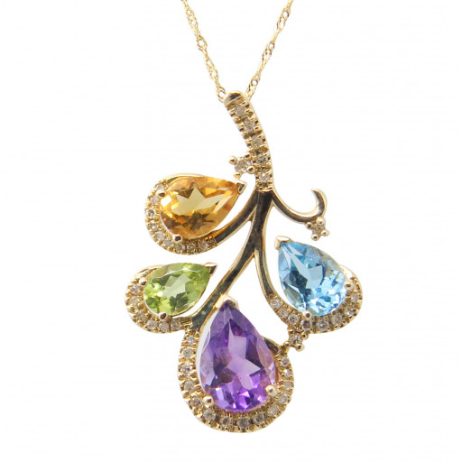 Harry Winston Style Multi Colour Gemstone & Diamond Leaf Pattern Pendant With Chain in 14K Yellow Gold 3.20 TW! Available in White Gold Too!
