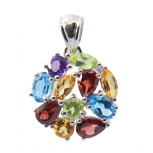 Multi Colour Circle of Love Gemstone Pendant in Italian Sterling Silver 3 CT!