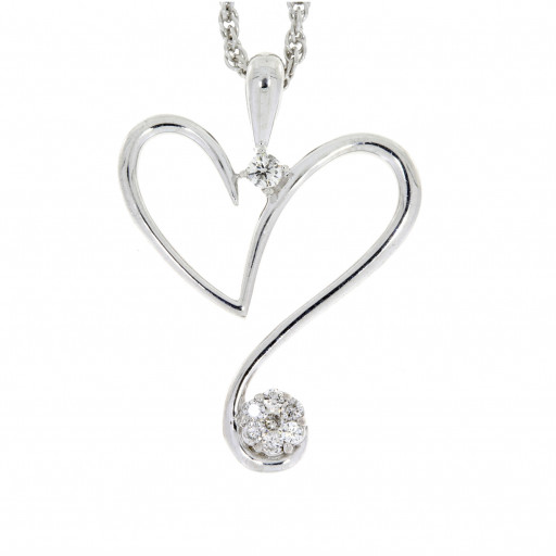 Cartier Style Diamond Heart Pendant With Chain in Italian Sterling Silver .25 TDW