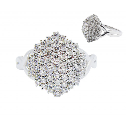 Tiffany Style Multi Row Diamond Pave Ring in 10K White Gold 1.35 TDW