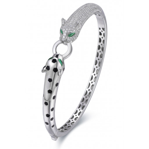 Cartier Style Duo Panther Bangle With Swarovski Cubic Zirconia in Italian Sterling Silver