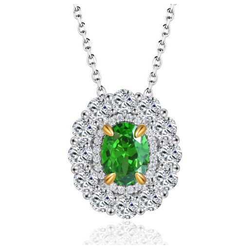 Princess Diana Style Green & White Swarovski Cubic Zirconia Pendant With Multi Length Chain in Italian Sterling Silver