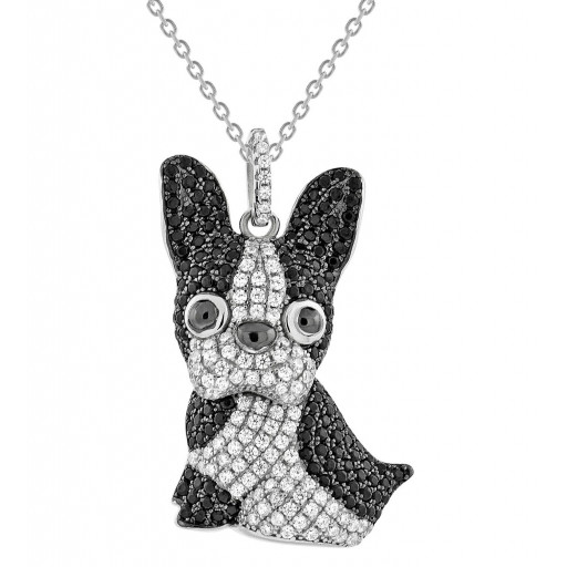 """Lola"" The Boston Terrier Dog Pendant With Multi Length Chain in Italian Sterling Silver With Black & White Swarovski Cubic Zirconia"