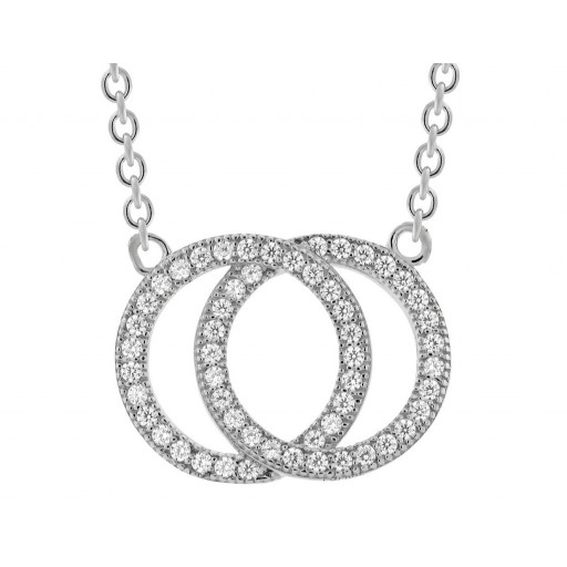 Tiffany Style Double Circle of Love Necklace With Swarovski Cubic Zirconia in Italian Sterling Silver