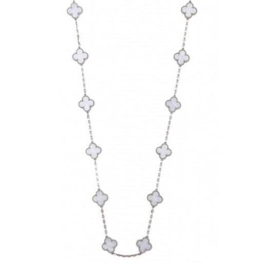 "Van Cleef Style 36"" Mother of Pearl Necklace in Italian Sterling Silver"