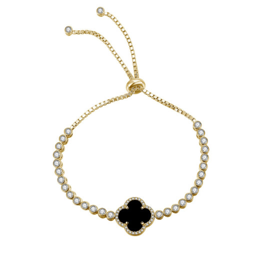Van Cleef Style Onyx & Swarovski Cubic Zirconia Fully Adjustable Bolo Bracelet in Yellow Gold Plated Italian Sterling Silver