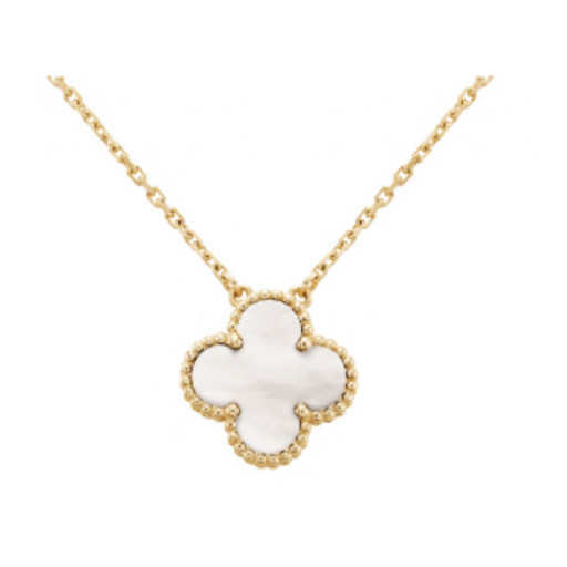 "Van Cleef Style Mother of Pearl Pendant in Yellow Gold Plated Italian Sterling Silver. Multi Length Chain 16""-20"""