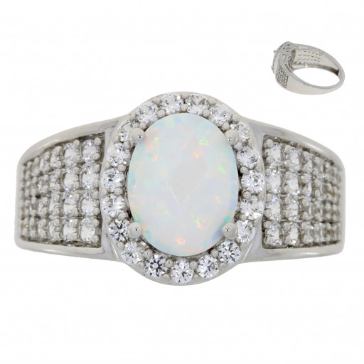 Tiffany Style Opal & White Sapphire Ring In Italian Sterling Silver 3.00 TW!