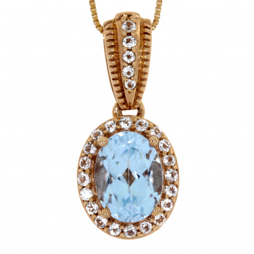 Cratier Style Blue & White Topaz Pendant With Chain in 10K Rose Gold 1.50 TW!