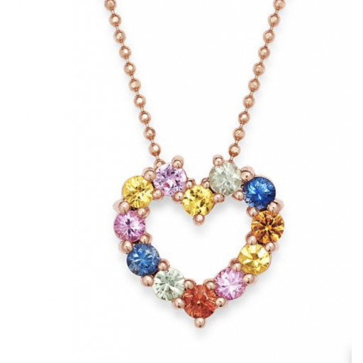Tiffany Style Multi Colour Heart Shape Gemstone Pendant in 10K Rose & Yellow Gold  1.00 TW!