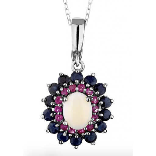 Harry Winston Style Opal With Ruby & Sapphire Halo Pendant in Italian Sterling Silver 4.00 TW!