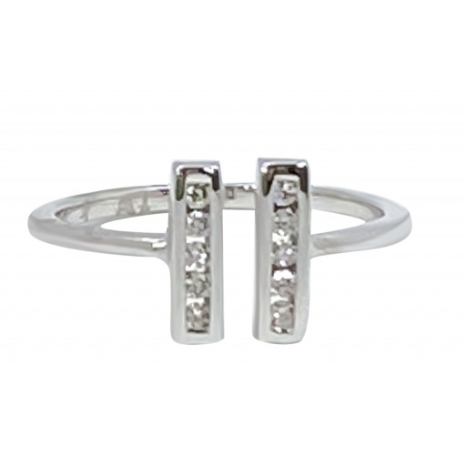 Prada Style Two Row At Front Channel Set Diamond Ring in 10K White Gold .35 TDW