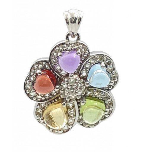 Van Cleef Style Cabachon Cut Heart Shape Gemstone Floral Pendant in Italian Sterling Silver 1.50 TW!