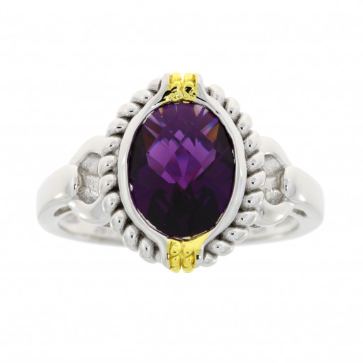 Tiffany Style Oval Checkerboard Amethyst Ring in Two Tone Sterling Silver 2.75 TW!
