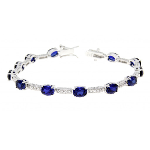 Tiffany Style Simulated Blue Sapphire & Swarovski Cubic Zirconia Bracelet in Italian Sterling Silver