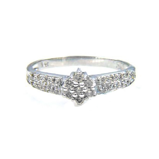 Tiffany Style Pave Cluster Diamond Ring in 10K White Gold .50 CT