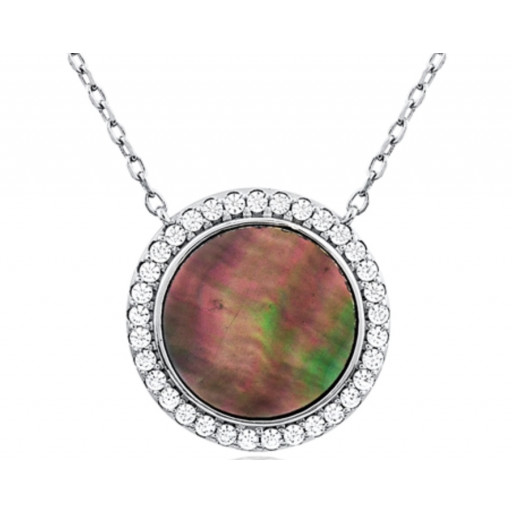 Van Cleef Style Mother of Pearl Circle of Love Halo Pendant WIth Extenable Chain in Italian Sterling Silver