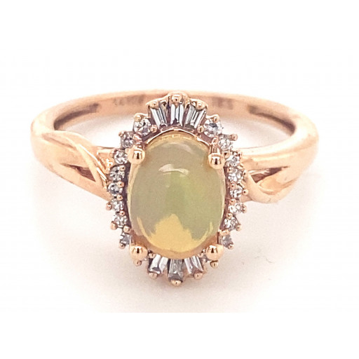 Princess Diana Style Opal & Baguette Diamond Halo Ring in 14K Rose Gold