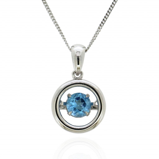 Chopard Style Dancing Blue Topaz Circle of Love Pendant in Italian Sterling Silver