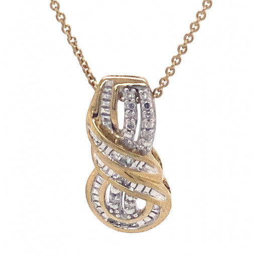 Cartier Style Baguette & Round Brilliant Cut Diamond Pendant In Two Tone Italian Sterling Silver .25 TDW