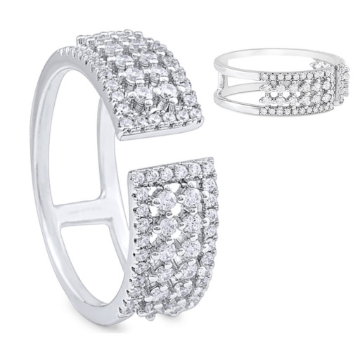 Cartier Style Multi Row Open on Top Ring With Swarovski Cubic Zirconia in Italian Sterling Silver