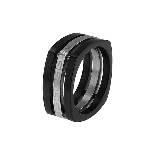 Gucci Style Silver & Stainless Steel Squared Gents Ring