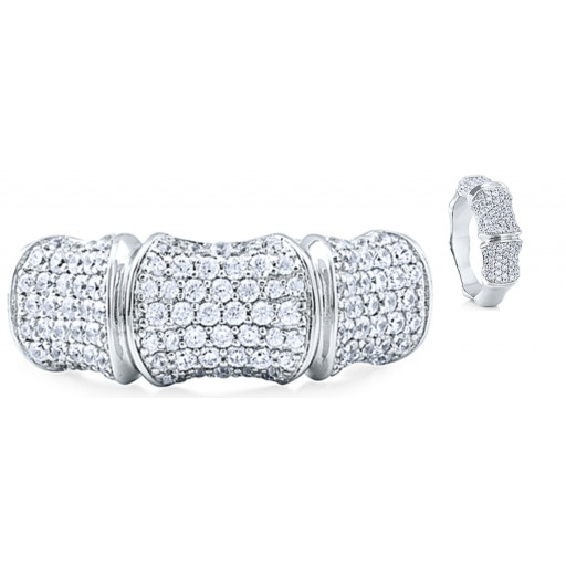 Cartier Style Multi Angled Ring With Swarovski Cubic Zirconia in Italian Sterling Silver