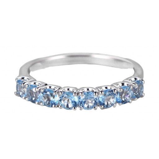 Tiffany Style Round Brilliant Cut Shared Claw Sky Blue Topaz Band in Italian Sterling Silver