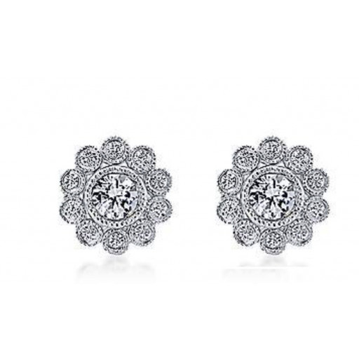 Tiffany Style Floral Diamond Stud Earrings in 10K White Gold