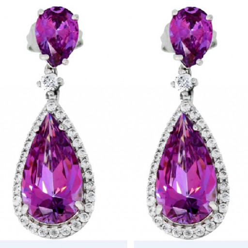 Harry Winston Style Swarovski Amethyst & Cubic Zirconia Designer Drop Earrings in White Gold Plated Sterling Silver