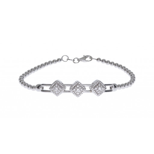 Past; Present & Future Simulated White Sapphire Extendable Bracelet in Italian Sterling Silver